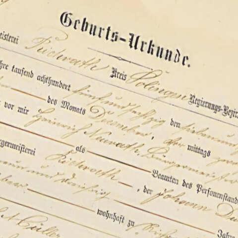 Geburtsurkunde aus dem Jahr 1868 - Foto: Stadtarchiv Langenfeld